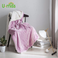 U miss Spring and Autumn 100% Polyester Coral Fleece Blanket Modern Thicken on The Beds Rectangle Adults Soft Woven Blanket