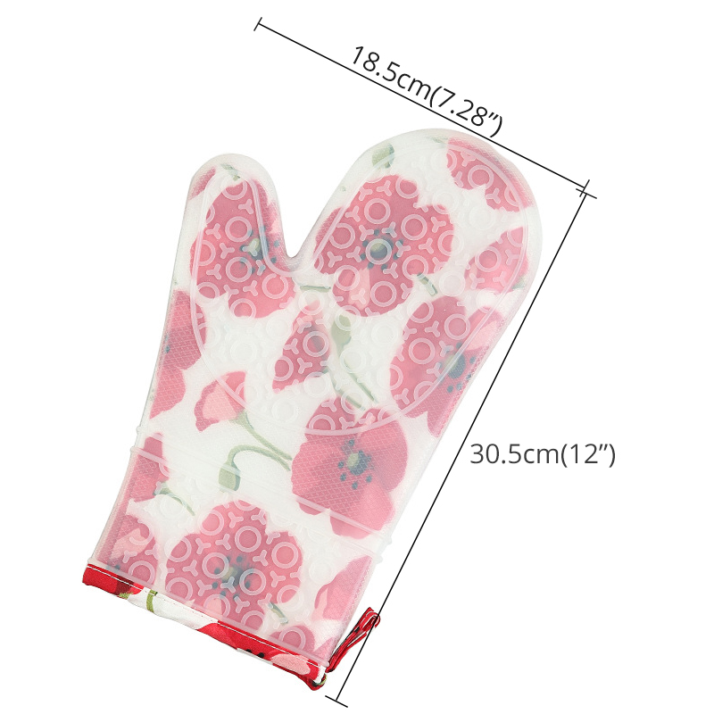 Oven Mitts - Silicone and Cotton Double-layer Heat Resistant Gloves / Silicone BBQ Gloves - Perfect for Baking Grilling - 1 Pair