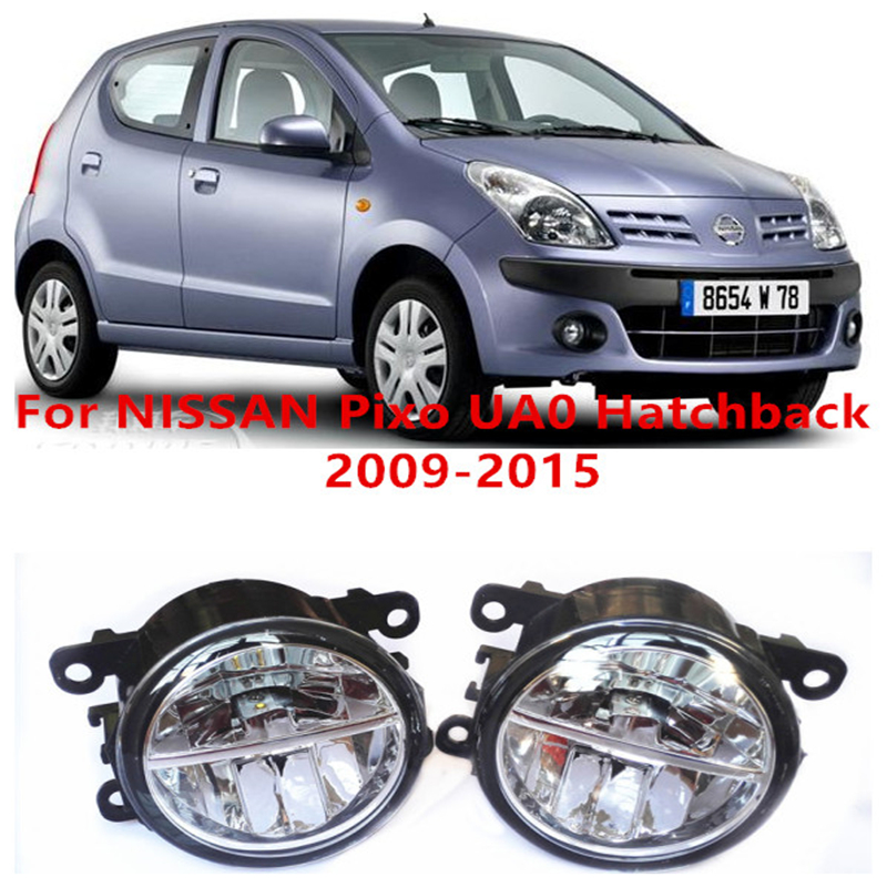 ФОТО For NISSAN Pixo UA0 Hatchback  2009-2015  10W Fog Light LED DRL Daytime Running Lights Car Styling lamps