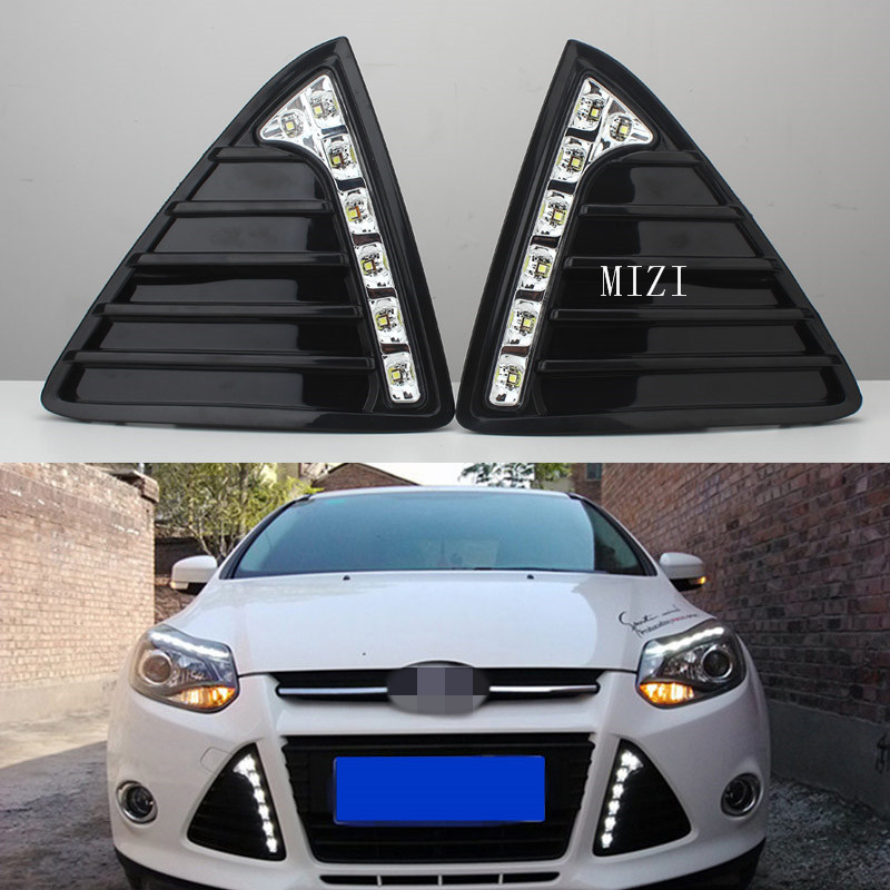 LED Car daytime running light DRL Bumper with turn off and dimming Relay Front Fog lamp for Ford Focus 3 2012 2013 2014 12V 12v 55w car fog light assembly for ford focus hatchback 2009 2010 2011 front fog light lamp with harness relay fog light