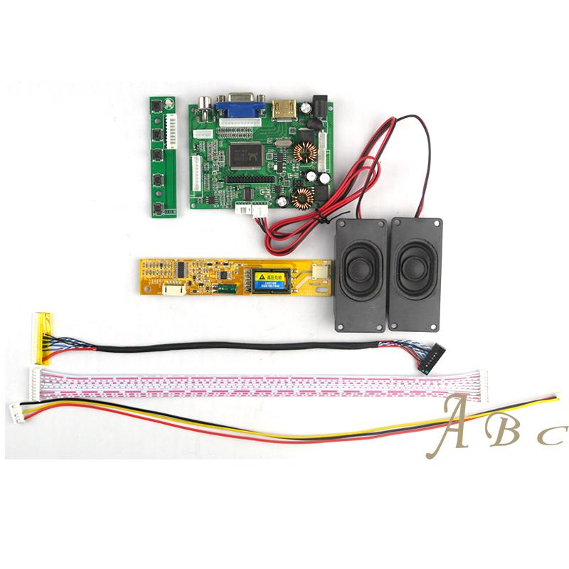Prix pour HDMI VGA 2AV Audio Carte Contrôleur + Onduleur + 30 P Lvds Câble + haut-parleur Kit pour 1280x800 1ch 6 peu LP154WX4 Écran lcd Panneau