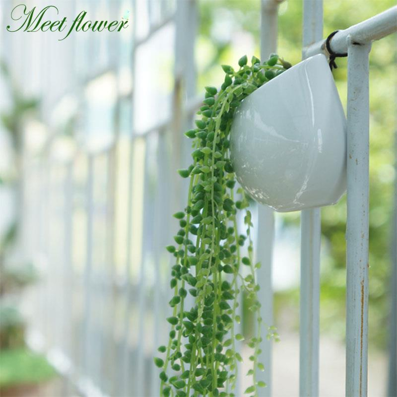 70cm Artificial Fleshiness Lover Tears Succulents Pearls Fleshy Vine Flower Hanging Rattan Wall Garden Decor Plants Flower Special Summer Sale Home & Garden