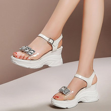 b16e98de56dc PXELENA Transparent Shiny Crystal Clear Women Sandals Wedge High Heels  Platform Shoes Genuine Leather Casual Comfort