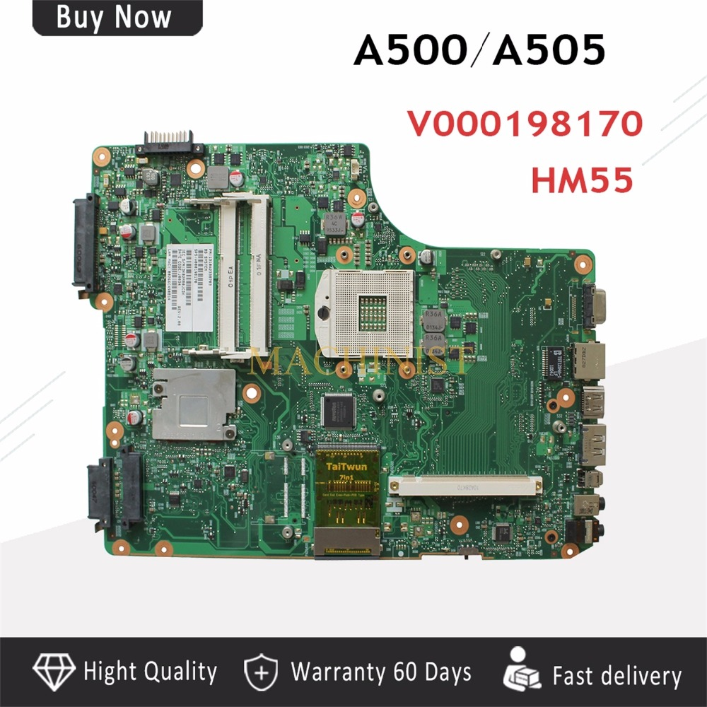 V000198170 A500 Laptop <font><b>Motherboard</b></font> For <font><b>Toshiba</b></font> Satellite A500 <font><b>A505</b></font> 1310A2338704 V000198170 HM55 DDR3 100% tested intact image