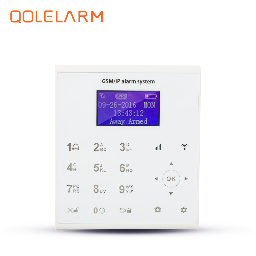 QOLELARM U8 wireless app control with touch screen editable zones four languages switchable home security alarm