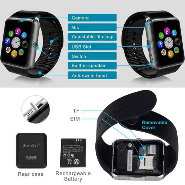 GT08 Smart Watch Men SIM Card Support TF Voice Recorder Music Bluetooth Call Watch Android Phone Smartwatch Women Wrist Watch