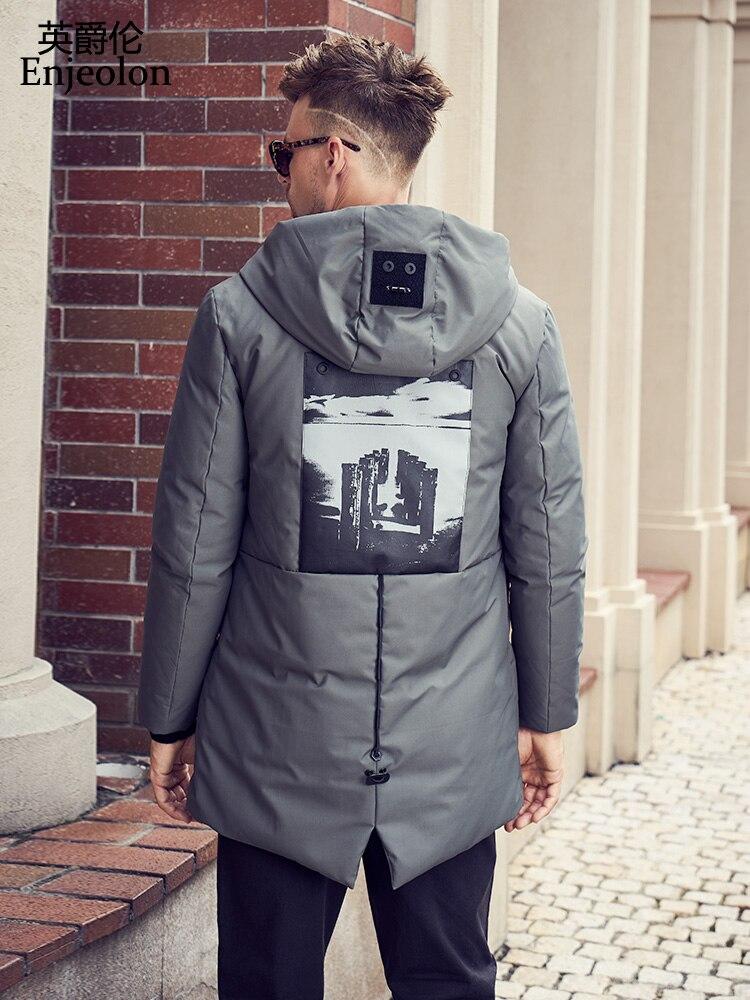 Enjeolon di marca addensare inverno lungo giù giacca con cappuccio da uomo stampa parka degli uomini del cappotto di piume d'anatra Bianca 3XL cappotto maschile verso il basso parka yr2701