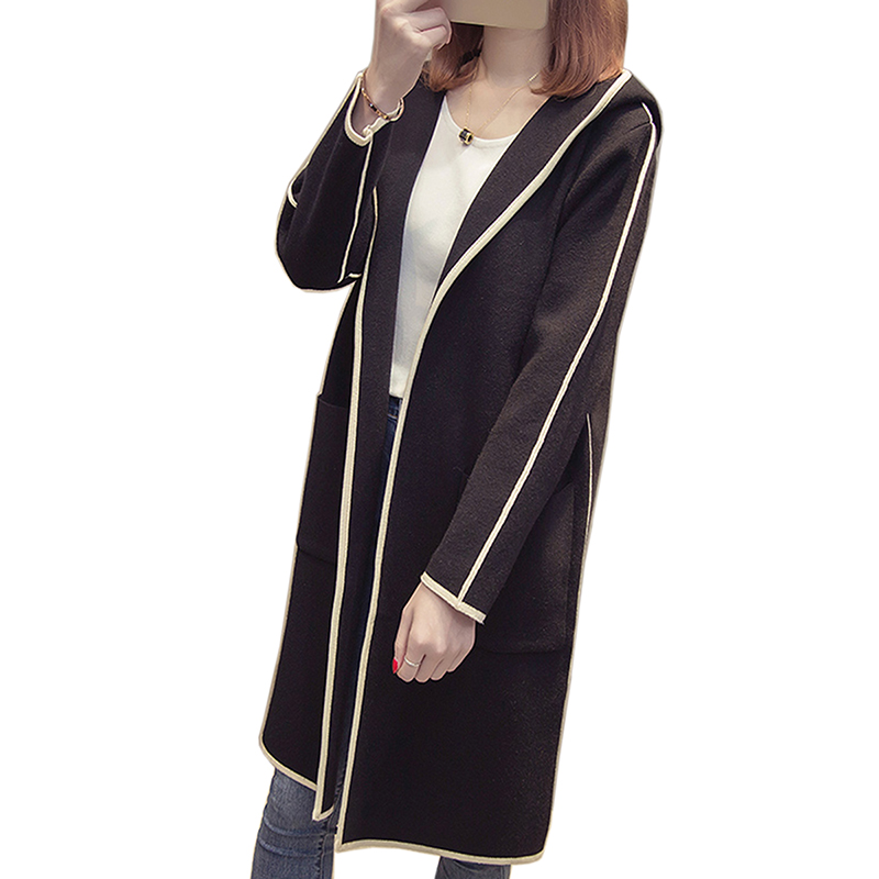 Autumn winter long black hooded jacket coat sweater Cardigan women Outwear long sleeve knitted trench female coat femme sweater