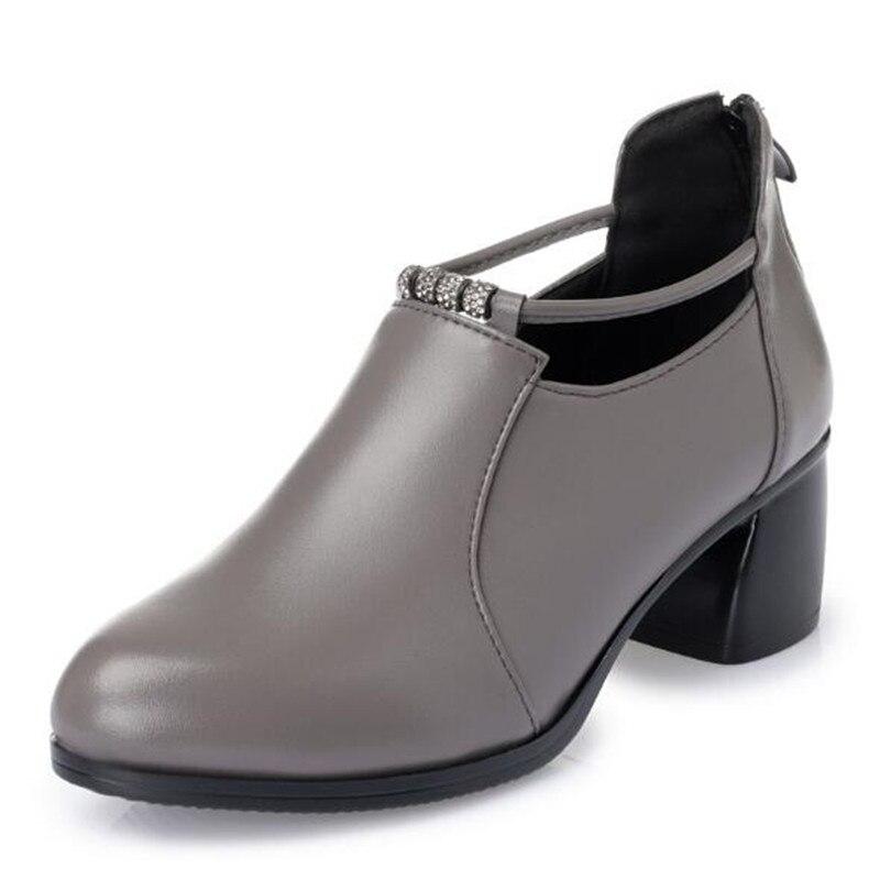 Лидер продаж; женские туфли на высоком каблуке; г.; элегантные удобные туфли из натуральной кожи; женская обувь; модные туфли на высоком каблуке со стразами - Цвет: gray