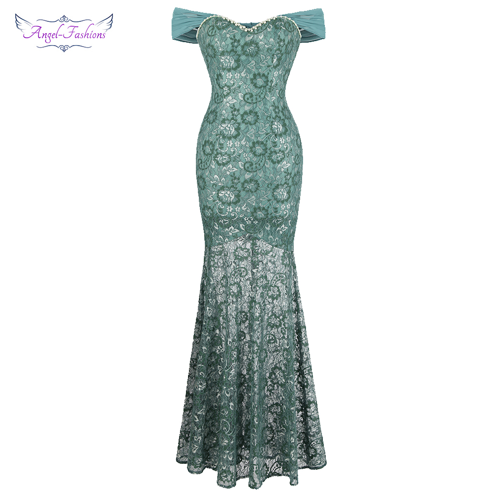 Angel-fashions Women's Boat Neck   Evening     Dress   Long Floral Lace Party Gown See Through Light Green 436