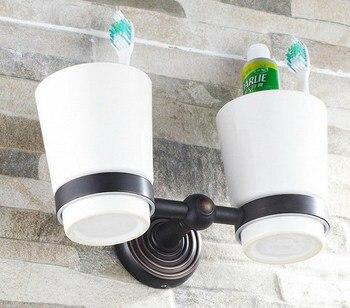 цена на Wall Mounted Black Oil Rubbed Brass Bathroom Toothbrush Holder Set Bathroom Accessory Dual Ceramic Cup mba143