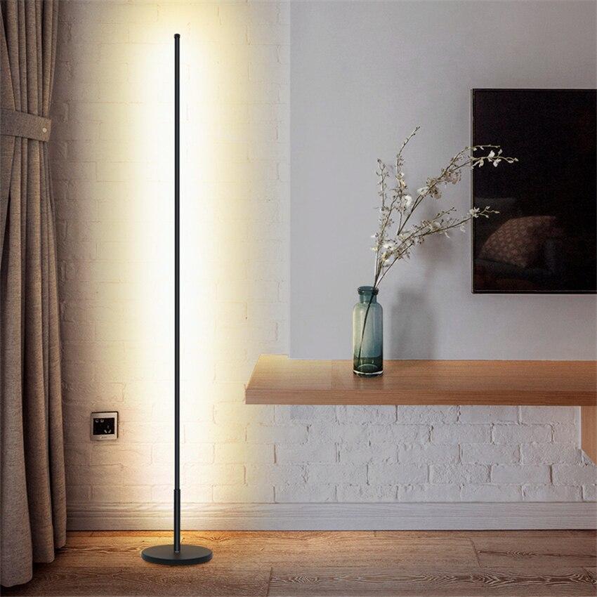 Скандинавские минималистичные светодиодные торшеры, стоячие лампы для гостиной, светодиодные черные/белые алюминиевые люминесцентные лам... - 2