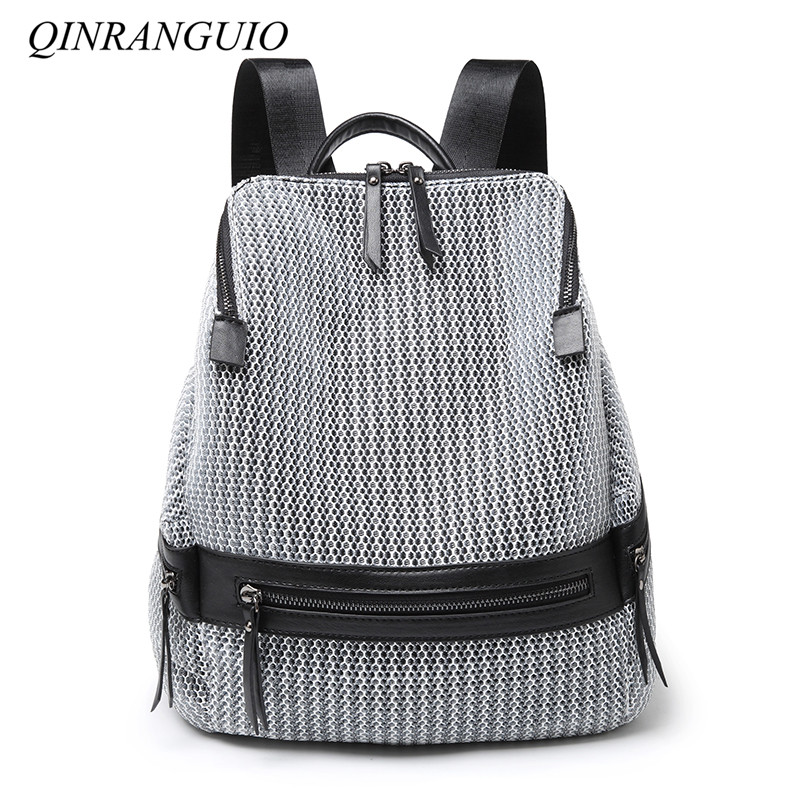 QINRANGUIO Nylon Backpack Women 2018 Fashion Women Backpack Large Capacity School Bags for Teenage Girls School Backpack Travel tegaote new design women backpack bags fashion mini bag with monkey chain nylon school bag for teenage girls women shoulder bags