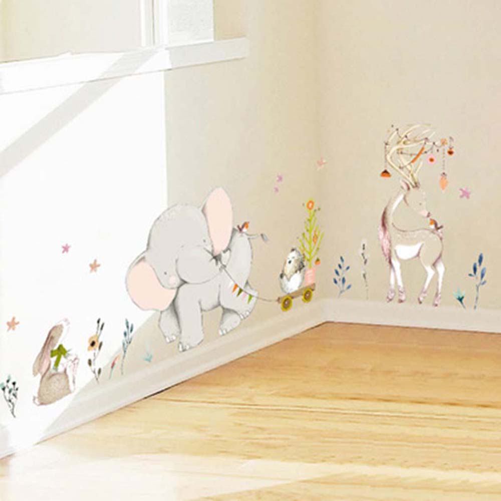 Cartoon Forest Flower Elephant Rabbit Giraffe Animal Wall Stickers Kids Room Decoration Vinyl Wallpaper Bedroom Wall Decals(China)