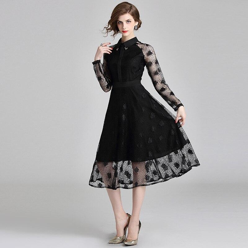LARCI 2018 осень цветочной вышивкой платье Длинные рукава вечернее платье женские пикантные meshchristmas миди платье N6196