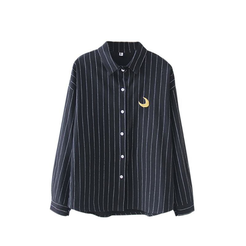 Women Embroidery Shirt Striped Cotton Blouses Office Ladies Tops Female Blusas Loose Work Shirt Autumn