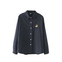 Women Embroidery Shirt Striped Cotton Blouses Office Ladies Tops Female Blusas Loose Work Autumn