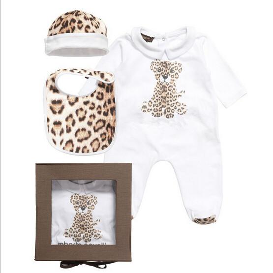 Marca Macacão de Bebê Leopardo 100% Algodão Recém-Nascido Uma peças de Roupas Chapéu + romper + bib bebê macacão Presente