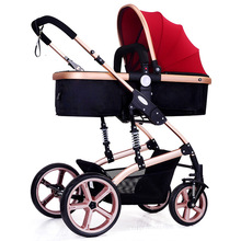 105cm High Landscape Hot Mom Pink Stroller 3 in 1 Reversible Traveling Pram Lightweight Baby Trolley Pushchair
