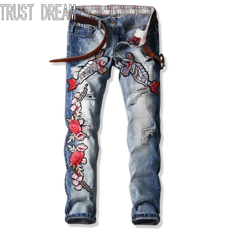 TRUST DREAM Europeans Designed Men Embroidered Dace Flower Ripped Hole Jean Casual Distressed Slim Denim Man Fashion Jeans l jean camp trust