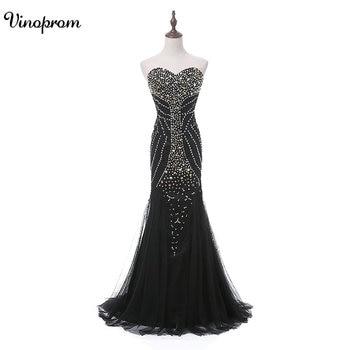Black Long Formal Evening Dresses 2018 Mermaid Beaded Crystals Prom Party Gowns Floor-Length vestido de festa Prom Dresses