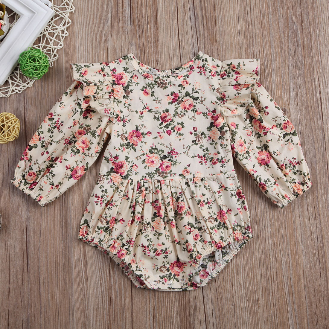 Newborn Toddler Baby Girls Ruffles Floral Romper Jumpsuit Outfits Clothes Newborn Toddler Baby Girls Ruffles Floral Romper Jumpsuit Outfits Clothes
