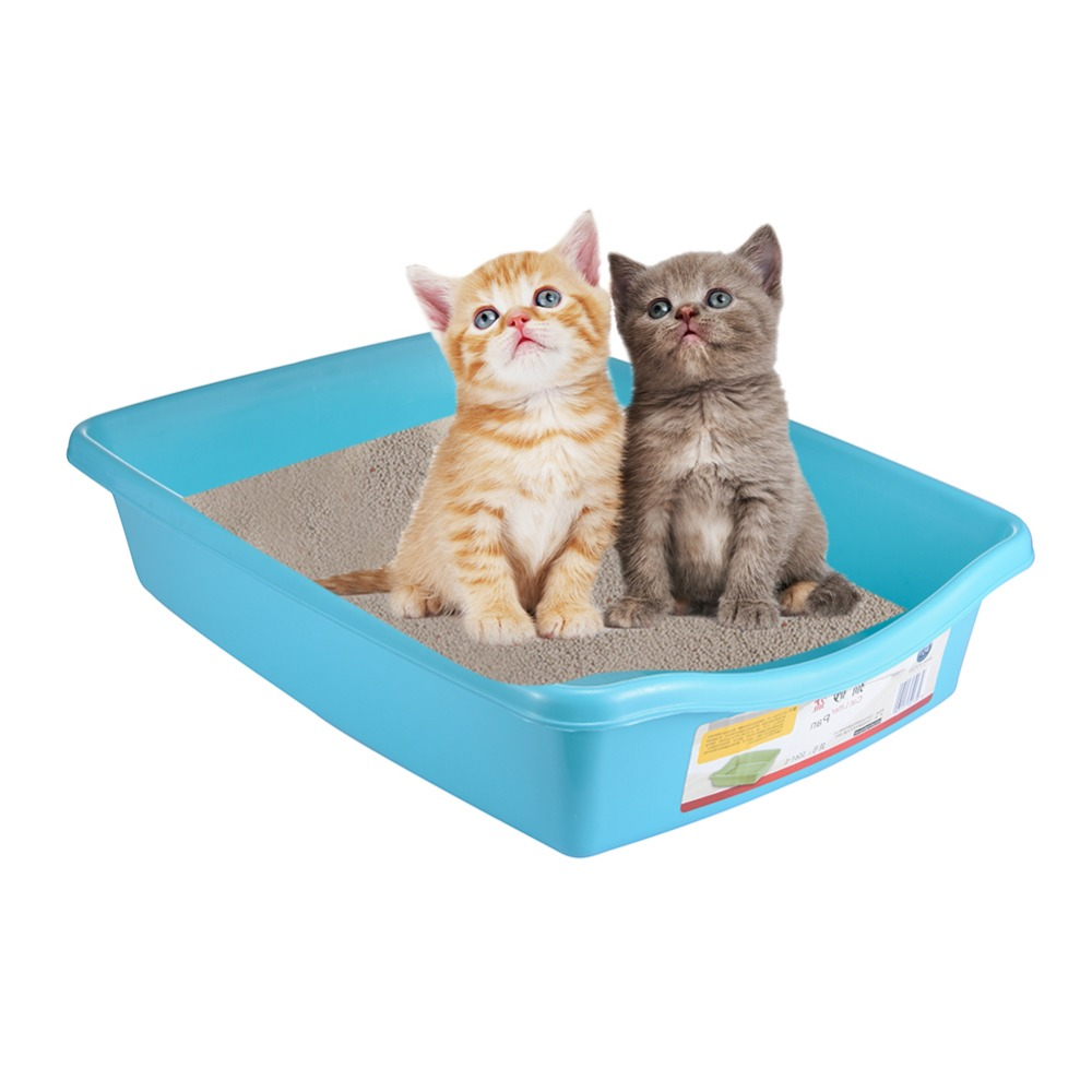 Toilet For Cats Plastic Open Type Smooth Cat Litter Tray With Gaps Flat Bottom Cat Pet Toilet Training Tools Bedpan Litter Tray