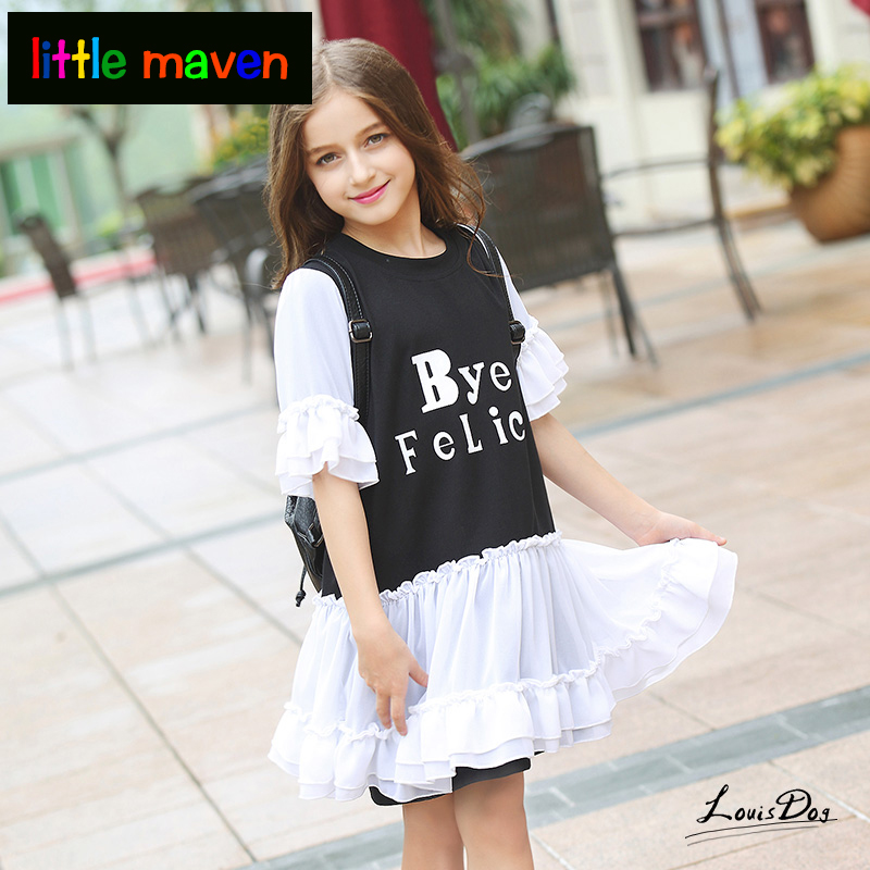 Teen Girls Dresses Lace Patchwork Design Flare Sleeve Fashion Proms for Kids Girls Princess Age 56789 10 11 12 13 14T Years old 2017 autumn girls blouse ruffle hem flare sleeves blue striped letter design for teens at age 56789 10 11 12 13 14t years old