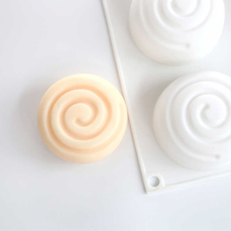 Round Whirlpool Silicone Soap Mold 6 Cavities Mousse Cake Mould Handmade Soap Molds DIY Craft Mould