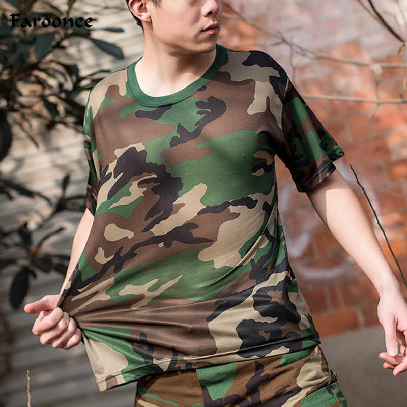 Men T-Shirts Base Layer Camouflage Fitness Tights Quick Dry Camo Short Sleeve Tops Tees Compression Shirt Plus Size 3X