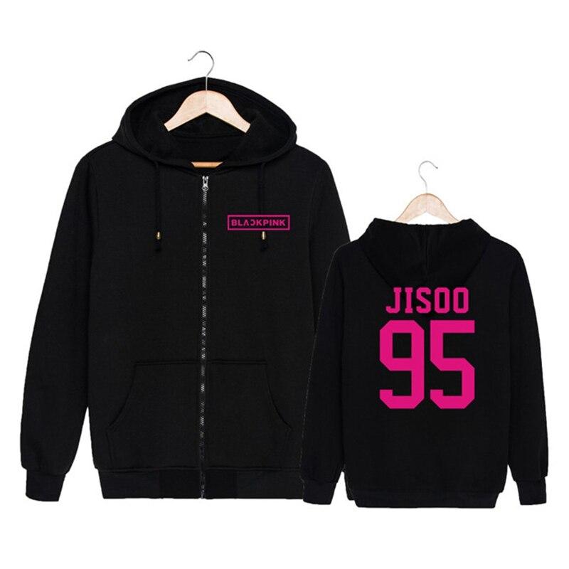 HPEIYPEI KPOP Coréen De Mode Noir Rose Blackpink Album BOOMBAYAN Coton Zipper Hoodies Vêtements Zip-up Shirts PT165
