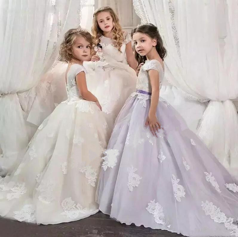 Ball Gown Girls Formal Wear Kids Pageant Dresses Tulle Sheer Lace Applique Flower Girl Dresses Birthday Party Gowns Custom Made cute ball gown baby girls birthday dresses lace applique infant girls dress custom made