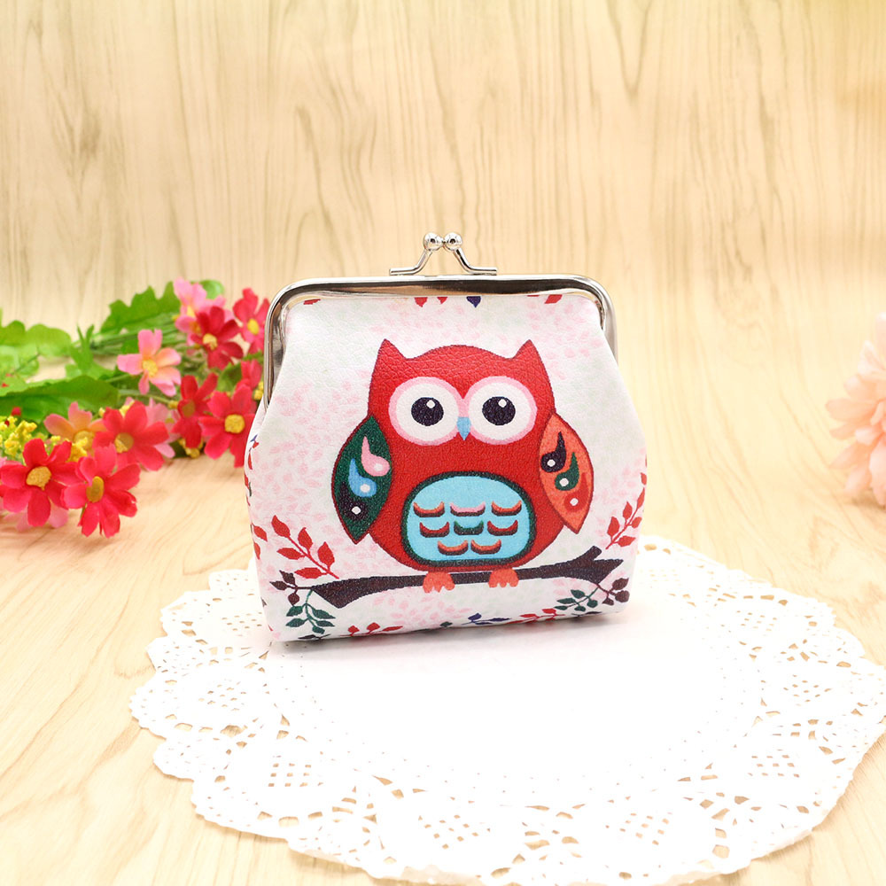 Women Wallets and Purses Small PU Leather Owl Coin Purses Girls Cartoon Card Holder Luxury Brand Wallets Chain Female 45