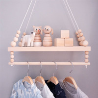 Raw Wood Nordic Bedroom Wall Shelf Wood Beads Double Layer Shelf Home Decor Photography Props Kids Room Wall Decoration