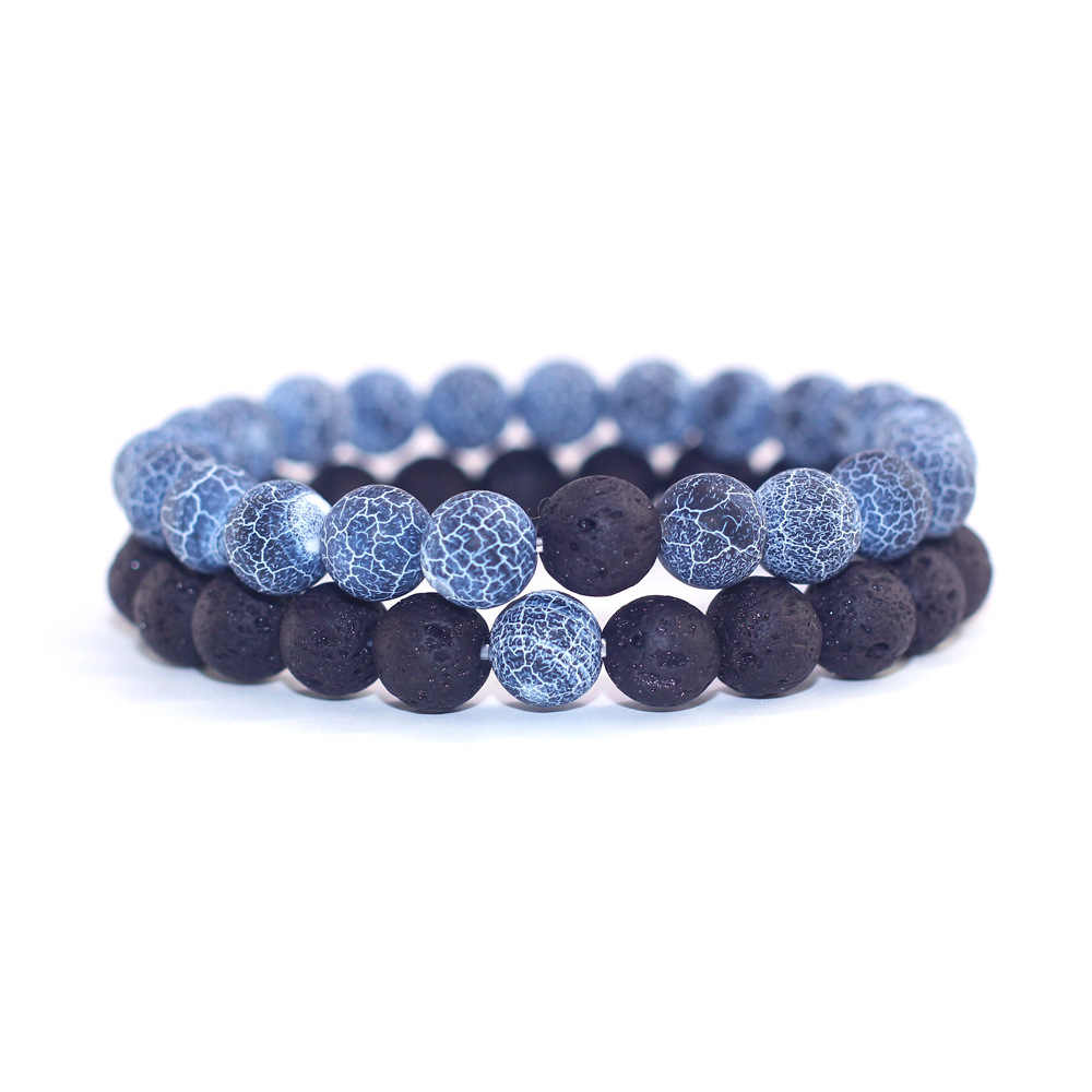 New Arrivals Natural Lava Stone Beaded Bracelets Blue Weathered Stone Handmade Couples Bracelet Men and Women Hand Chains