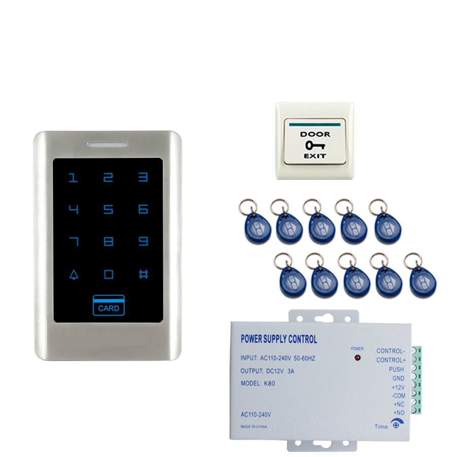 JEX RFID Touch Password Access Controller Metal Waterproof Backlight button Door control system kit + 10 ID cards In stock