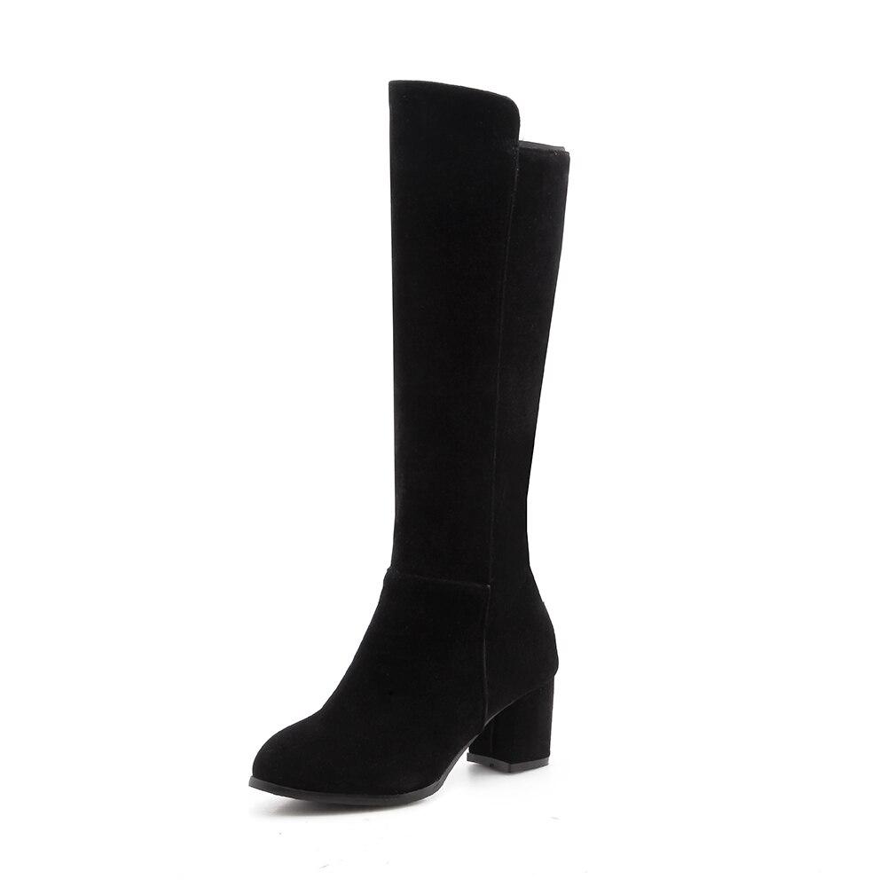 Hautes Femme Bout Femmes 34 43 2018 Mode Automne Taille Talons Hauts Rond À Tirette Noir Genou Longues Bottes Chaussures De Hiver 7A7nY6r