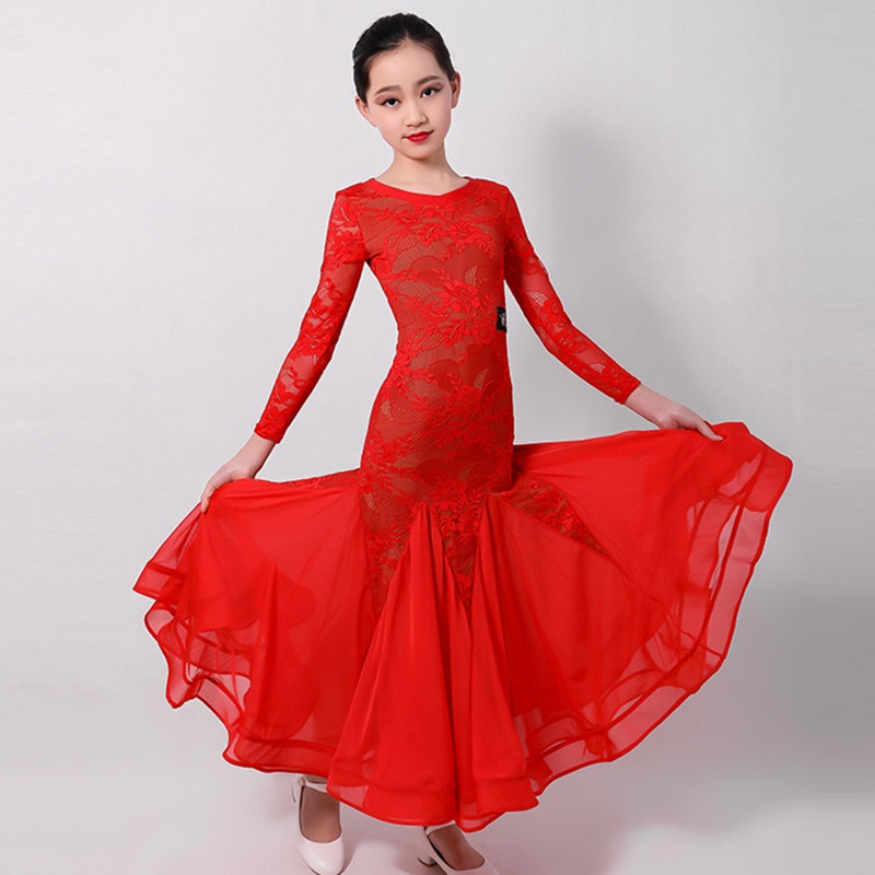 Standard Ballroom Dress For Kids Ballroom Dancing Dress Girls Waltz Dress Fringe Dance Wear Spanish Dress Red Spain Kids Clothes