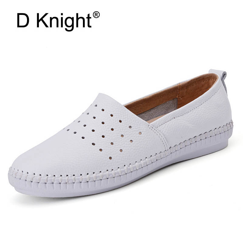 Ladies Genuine Leather Casual Flat Shoes Woman Spring Summer Loafers Slip On Flats Breathable Hole Pregnant Women White Shoes