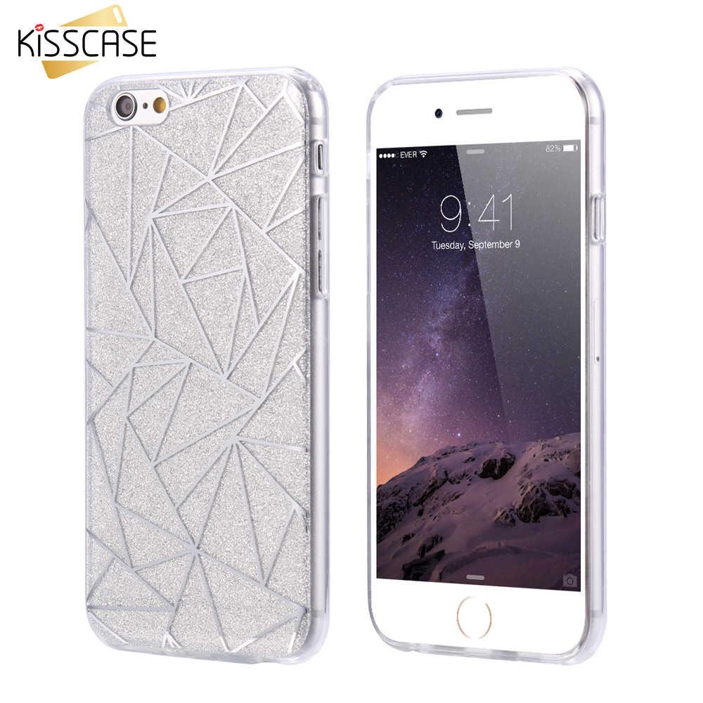 KISSCASE Diamond Giltter funda de teléfono para iPhone 7 6 6 S Plus 5 5S SE brillante Bling suave TPU fundas funda trasera para Huawei P10 PC