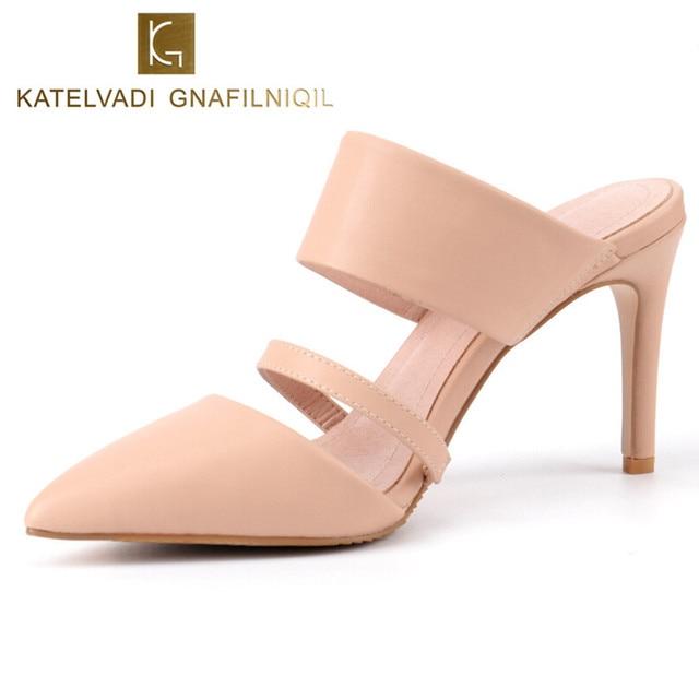 Brand Slipper Women Shoes High Heels Beige Office 8cm Summer Sandals Woman