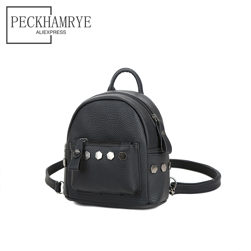 2018 Women Leather Backpack children backpack rivet mini backpack for teenage girls women cute back pack backpacks small bag