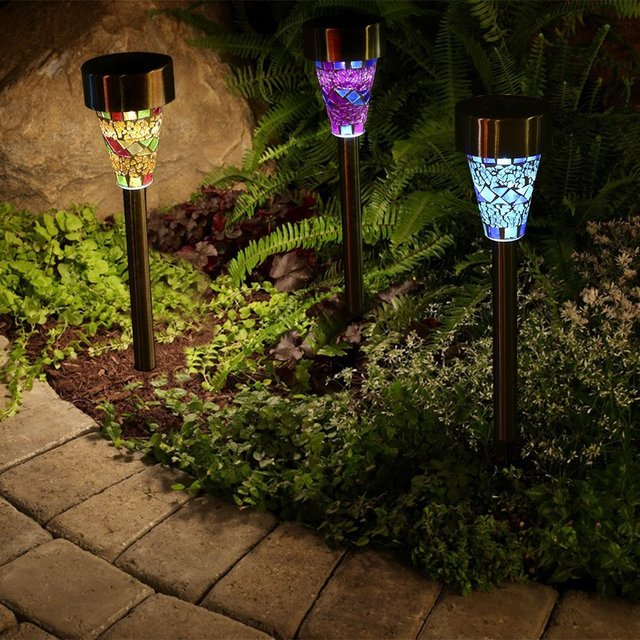 3pcs/lot Solar Mosaic Garden Light LED Lamp Stainless Steel Spot Light  Outdoor Lawn Landscape
