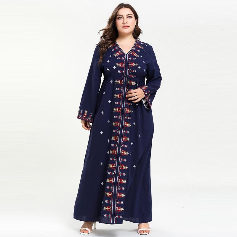 2019 Women Muslim Dress Embroidery V neck kaftan moroccan Abaya Plus size Islamic Dress Flare Sleeve Dark Blue M-4XL