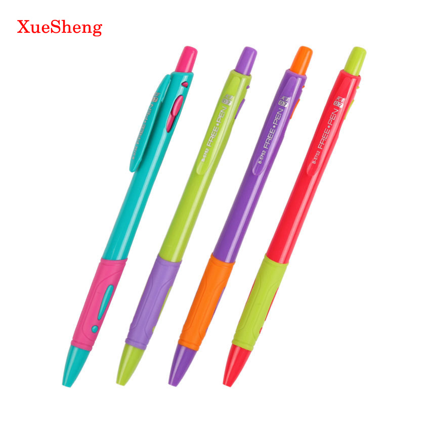 4 PCS/Set Random Mixed Color Plastic Ballpoint Pen Red Purple Blue Green Ballpoint Pen 0.7mm