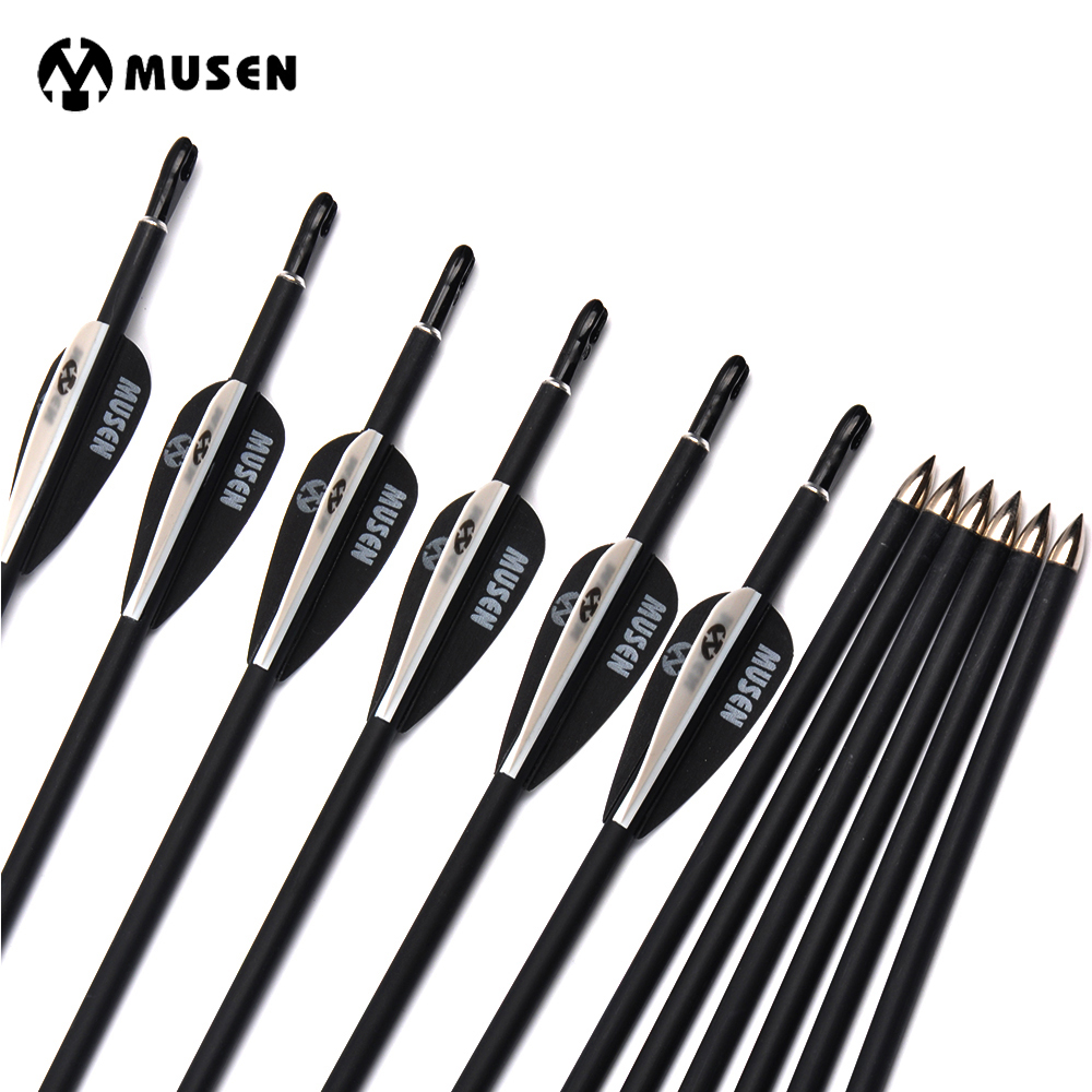 6/12/24 pcs 80cm Spine1000 Carbon Arrows with Black and White Feather for Compound/Recurve Bow Hunting Archery