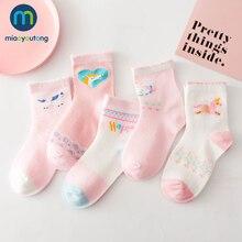 MIAOYOUTONG – Lot de chaussettes en coton à fines mailles pour nouveau né, 5 paires par lot, motifs licornes, Skarpetki, pour bébé fille