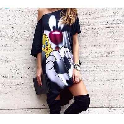 Femme נשים קיץ שמלת 2019 הגעה קריקטורה חמוד הדפסת Loose שמלה שחור אוקראינה Vestido סקסי Mujer בתוספת גודל