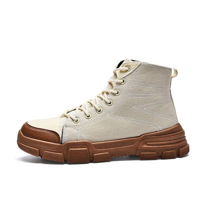 Denim Männer Schuhe 2018 Vintage Stil Outdoor Martin Stiefel Männer Hohe Top Alle Schwarz Schnee Stiefel Herbst Winter Dicken Boden turnschuhe