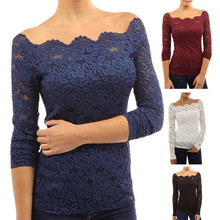 New Arrival Sexy Women Off Shoulder Lace Slim  Top Casual Long Sleeve Fit Tops